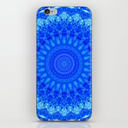 Detailed mandala in blue tones iPhone Skin