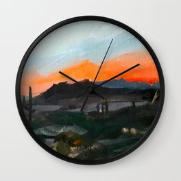 Sunset Over the Superstitions Wall Clock