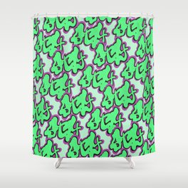 Stay Graffiti Pattern - Slime Green Shower Curtain