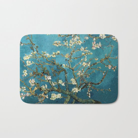 Blossoming Almond Trees, Vincent van Gogh. Famous vintage fine art. Bath Mat