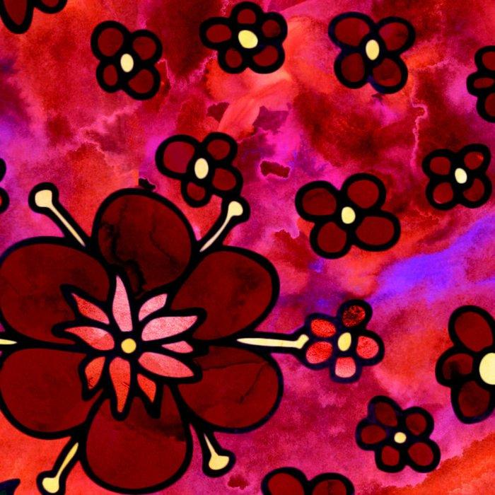 Red Small Flowers Leggings