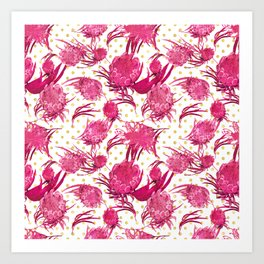 Pink and Gold Australian Native Floral Pattern - Protea, Grevillea and Eucalyptus Art Print