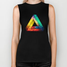 Abstract Multi Color Cubizm Painting Biker Tank
