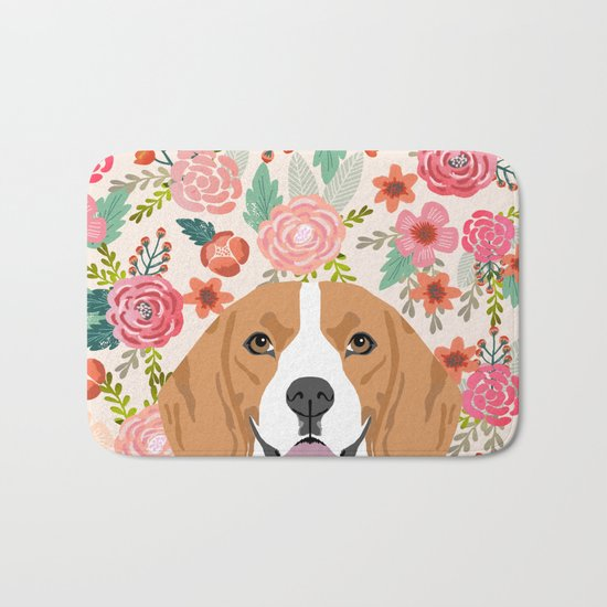 Beagle florals cute spring pet portrait dog lover gift idea beagle owners must haves flower power Bath Mat
