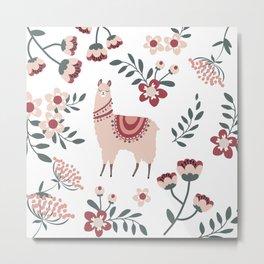 Pink Llama Metal Print
