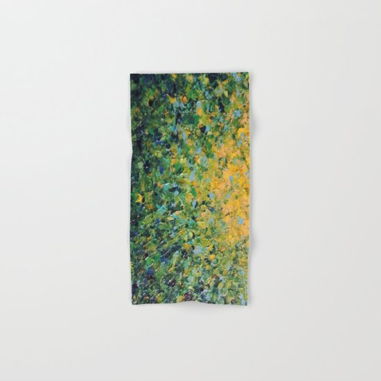 IRISH SUNRISE - Beautiful BOLD Lime Kelly Forest Green Sunrise Sunset Abstract Nature Painting Hand & Bath Towel