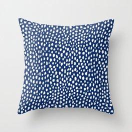 Handmade polka dot brush strokes (white/navy blue) Throw Pillow