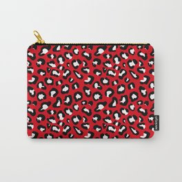 Leopard Print Black and White on Red Carry-All Pouch