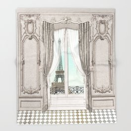 Eiffel Tower room with a view Throw Blanket