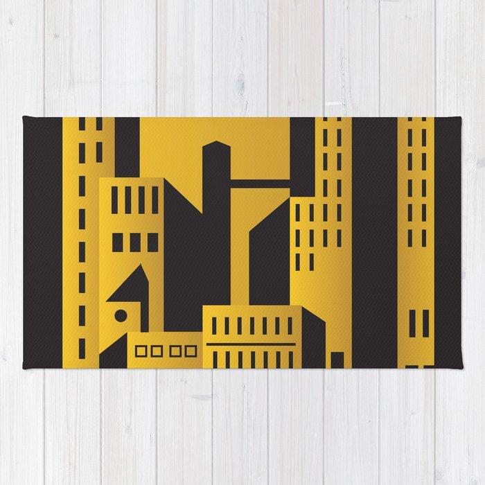 Golden city art deco Rug