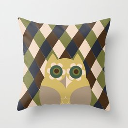 Owls and Argyle  Throw Pillow