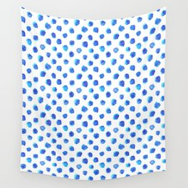 Watercolor Tie Dye Dots in Indigo Blue Wall Tapestry