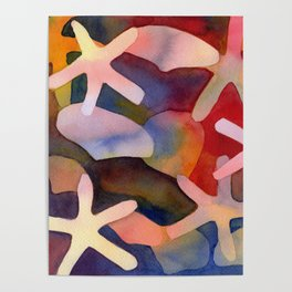 Sea Stars and Sea Shells Watercolor Art Poster