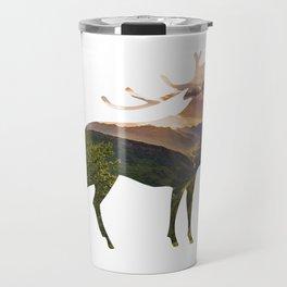 Elk Silhouette with Wilderness Inlay Travel Mug