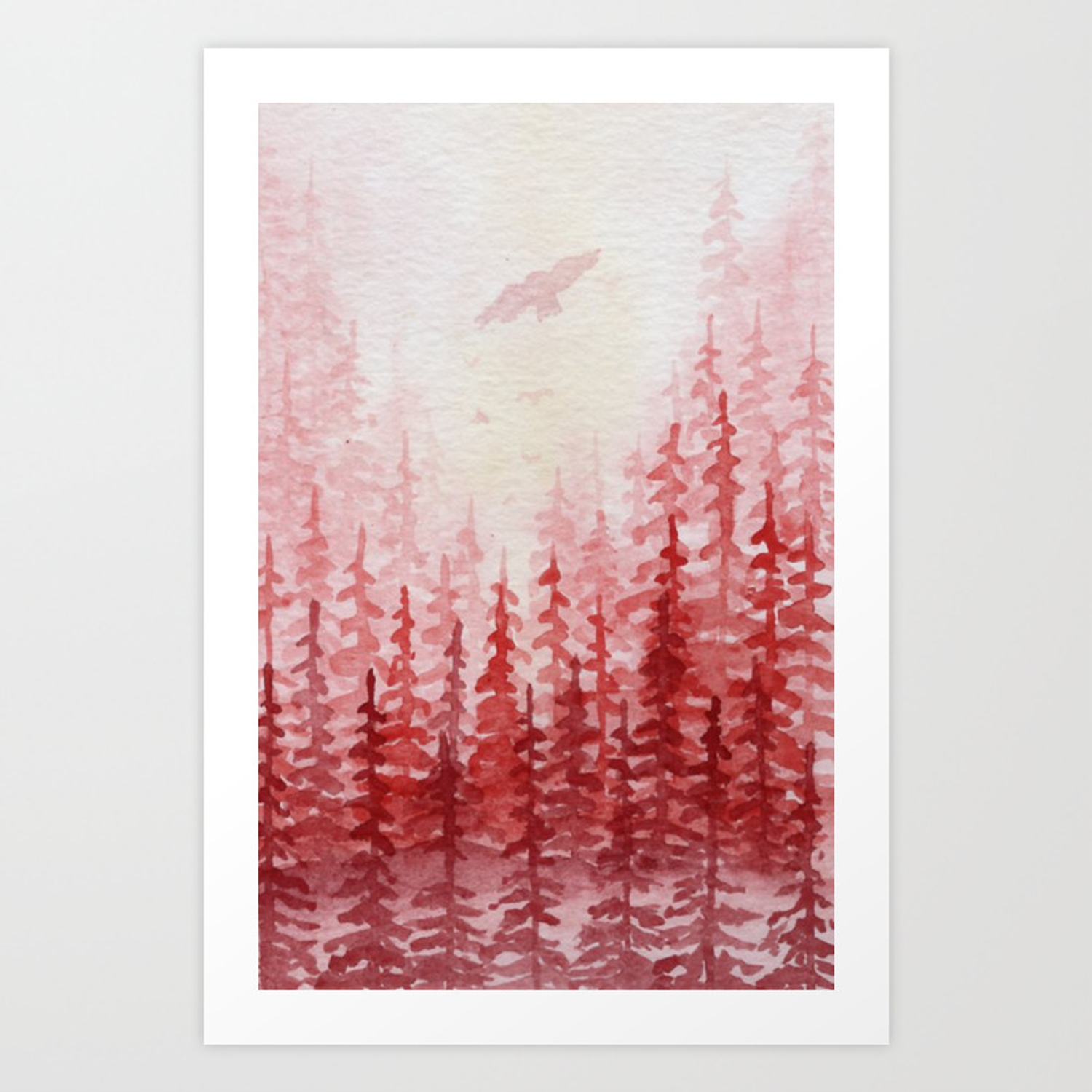 red forest watercolor landscape painting art print by kathryntmccardle society6 red forest watercolor landscape painting art print by kathryntmccardle