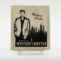 writer Shower Curtains featuring Richard Castle, Mystery Writer by LimitLyss