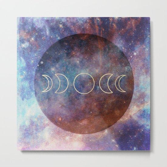 Moon Phases Rose Gold Mandala Metal Print