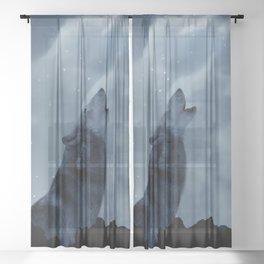 Wolf howling at full moon Sheer Curtain