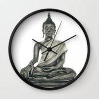 buddah Wall Clocks featuring Buddah by Hollie B