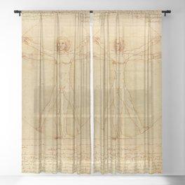 The Vitruvian Man 1405 (L Uomo Vitruviano) Leonardo da Vinci Artwork for Prints Posters Tshirts Men Sheer Curtain