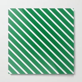 Emerald Diagonal Stripes Metal Print