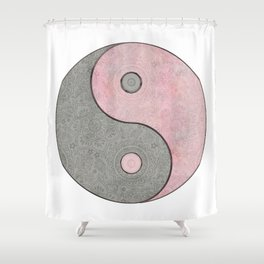 Yin Yang Esoteric Symbol Pastel Pink And Grey Shower Curtain