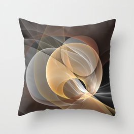 Brown, Beige And Gray Abstract Fractals Art Throw Pillow