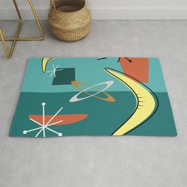 Turquoise Atomic Era Space Age Rug