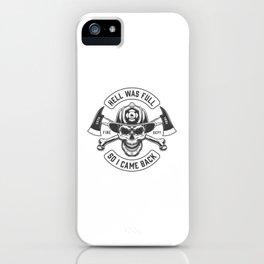 Monochrome Fireman Prints Template With Inscriptions Skull Firefighter Helmet Vintage Style Illustra iPhone Case