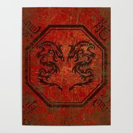 Distressed Dueling Dragons in Octagon Frame With Chinese Dragon Characters Poster