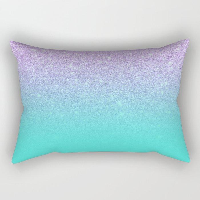 Modern mermaid lavender glitter turquoise ombre pattern Rectangular Pillow