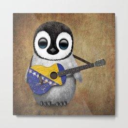 Baby Penguin Playing Bosnian Flag Acoustic Guitar Metal Print