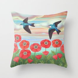 tree swallows and poppies Throw Pillow