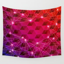 Gradient Purple Red Orange Hexagons Connected by White Nodes and Lines Wall Tapestry