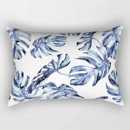 Blue Palm Leaves Rectangular Pillow