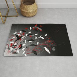 Nature in black, white and red. Rug