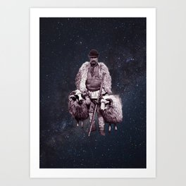 Shepherd in space Art Print
