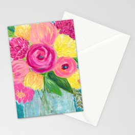 Bouquet of Flowers, Pink and Yellow Flowers, Painting Flowers in Vase Stationery Cards
