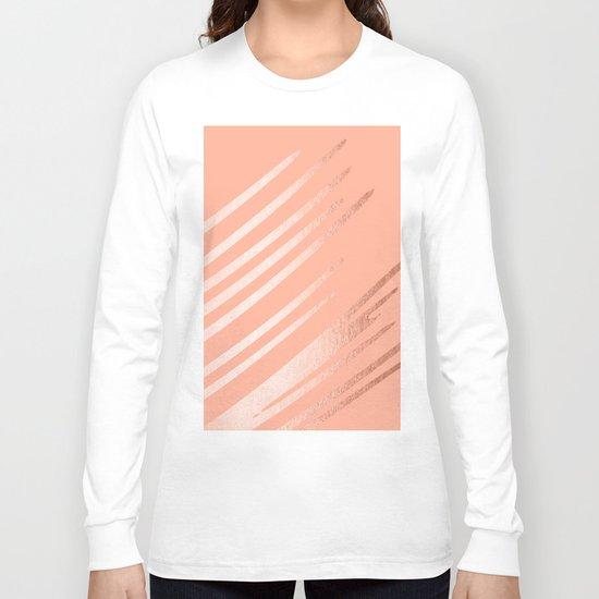 Sweet Life Swipes Peach Coral Shimmer Long Sleeve T-shirt