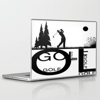 golf Laptop & iPad Skins featuring Golf, golf, golf! b&w by South43