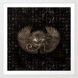 Egyptian Eye of Horus - Wadjet Vintage Gold Art Print