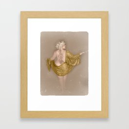 """""""Golden Goddess"""" - The Playful Pinup - Majestic Curvy Pin-up Beauty in Gold by Maxwell H. Johnson Framed Art Print"""