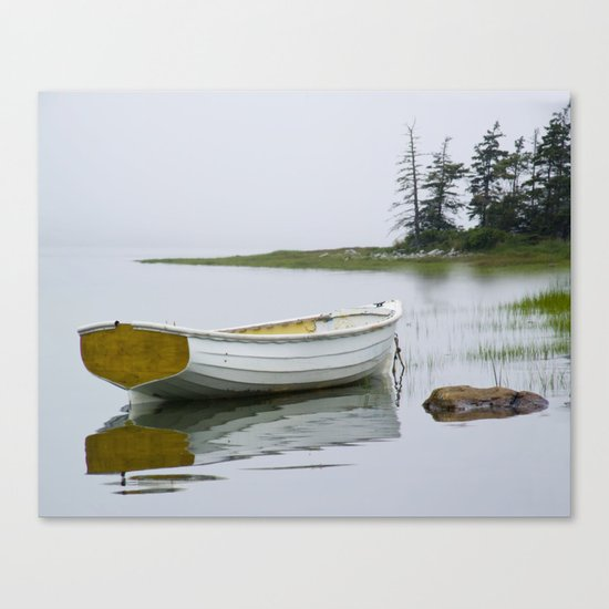 A Fine Art Photograph of a White Maine Boat on a Foggy Morning Canvas Print