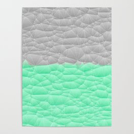 Vibrant Mint Green and Silver Quilted Design Poster