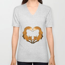 Heartful Foxes Unisex V-Neck