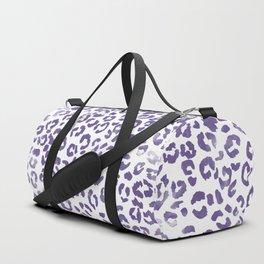 Modern hand painted leopard purple ultra violet watercolor pattern Duffle Bag