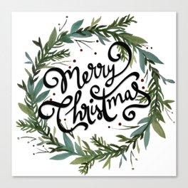 Merry Christmas Wreath Canvas Print
