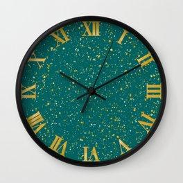 Elegant Confetti Space - Teal Green & Gold,Silver Wall Clock