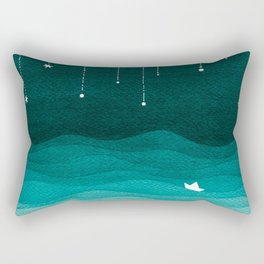 Falling stars, sailboat, teal, ocean Rectangular Pillow