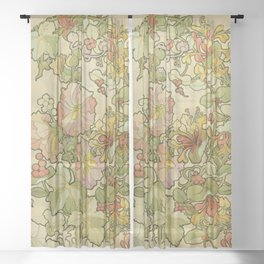 """Alphonse Mucha """"Printed textile design with hollyhocks in foreground"""" Sheer Curtain"""